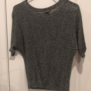 3/4 length marbled black & white knit from Express